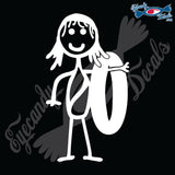"STICK FAMILY GIRL READY FOR THE BEACH   4"" DECAL"