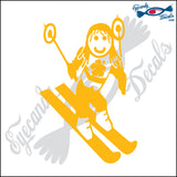 "STICK FAMILY GIRL SKIING   4"" DECAL"