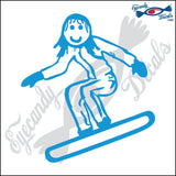 "STICK FAMILY GIRL SNOWBOARDING   4"" DECAL"