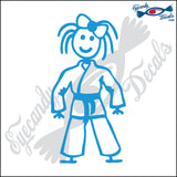 "STICK FAMILY GIRL IN KARATE UNIFORM   4"" DECAL"