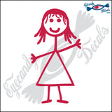 "STICK FAMILY GIRL STRAIGHT HAIR   4"" DECAL"