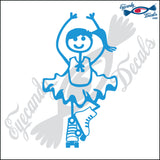 "STICK FAMILY GIRL WEARING ROLLER SKATES   4"" DECAL"
