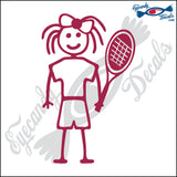 "STICK FAMILY GIRL TENNIS PLAYER   4"" DECAL"
