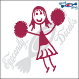 "STICK FAMILY GIRL CHEERLEADER   4"" DECAL"