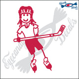 "STICK FAMILY GIRL PLAYING HOCKEY   4"" DECAL"