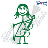 "STICK FAMILY GIRL PLAYING VIOLIN   4"" DECAL"