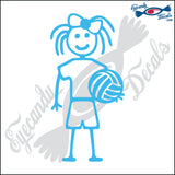 "STICK FAMILY GIRL HOLDING VOLLEYBALL   4"" DECAL"
