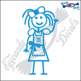 "STICK FAMILY GIRL READY FOR OCTOBERFEST   4"" DECAL"