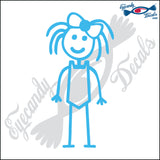 "STICK FAMILY GIRL GOING SWIMMING   4"" DECAL"