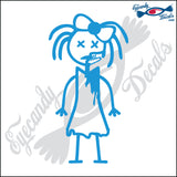 "STICK FAMILY GIRL ZOMBIE WITH X EYES   4"" DECAL"