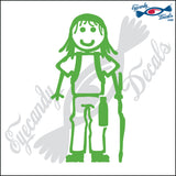 "STICK FAMILY GIRL HIKER   4"" DECAL"