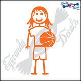 "STICK FAMILY GIRL HOLDING BASKETBALL   4"" DECAL"