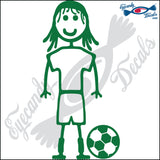 "STICK FAMILY GIRL SOCCER PLAYER   4"" DECAL"