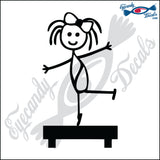 "STICK FAMILY GIRL GYMNAST   4"" DECAL"