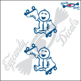 "STICK FAMILY BABY HOLDING ROLLER SKATES   2.5"" 2 PACK DECAL"