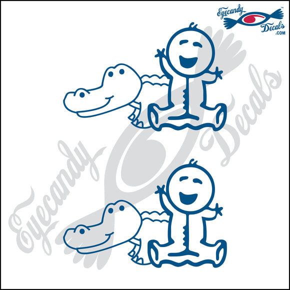 STICK FAMILY BABY PLAYING WITH ALLIGATOR   2.5