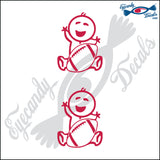 "STICK FAMILY BABY HOLDING FOOTBALL   2.5"" 2 PACK DECAL"