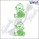 "STICK FAMILY BABY HOLDING VOLLEYBALL   2.5"" 2 PACK DECAL"