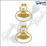 "STICK FAMILY BABY GIRL GOING TUBING   2.5"" DECAL"