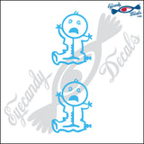 "STICK FAMILY BABY ZOMBIE   2.5"" 2 PACK DECAL"