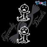 "STICK FAMILY BABY ZOMBIE WITH X EYES   2.5"" 2 PACK DECAL"