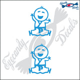 "STICK FAMILY BABY IN KARATE UNIFORM   2.5"" 2 PACK DECAL"