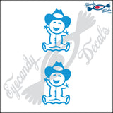 "STICK FAMILY BABY WEARING COWBOY HAT   2.5"" 2 PACK DECAL"