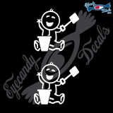 "STICK FAMILY BABY PLAYING IN BEACH SAND   2.5"" 2 PACK DECAL"