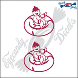 "STICK FAMILY BABY SNOWTUBING   2.5"" DECAL"