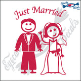 "JUST MARRIED MAN AND WOMAN STICK PEOPLE  6"" DECAL"