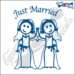"GAY MARRIAGE JUST MARRIED WOMAN AND WOMAN STICK PEOPLE  6"" DECAL"
