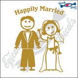 "HAPPILY MARRIED MAN AND WOMAN STICK PEOPLE  6"" DECAL"