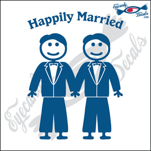 "GAY MARRIAGE HAPPILY MARRIED MAN AND MAN STICK PEOPLE  6"" DECAL"