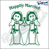 "GAY MARRIAGE HAPPILY MARRIED WOMAN AND WOMAN STICK PEOPLE  6"" DECAL"