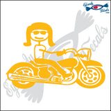"STICK FAMILY LADY RIDING MOTORCYCLE   5"" DECAL"
