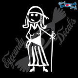 "STICK FAMILY LADY PIRATE   5"" DECAL"