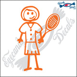 "STICK FAMILY LADY TENNIS   5"" DECAL"