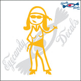"STICK FAMILY LADY BIKER   5"" DECAL"