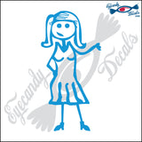 "STICK FAMILY LADY IN SUNDRESS   5"" DECAL"