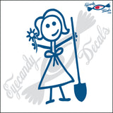 "STICK FAMILY LADY GARDENER   5"" DECAL"