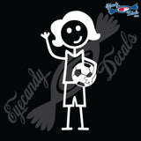 "STICK FAMILY LADY SOCCER PLAYER   5"" DECAL"