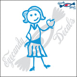 "STICK FAMILY LADY TEACHER   5"" DECAL"