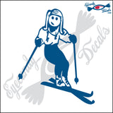 "STICK FAMILY LADY SKIING   5"" DECAL"
