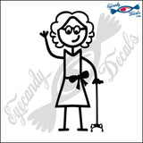"STICK FAMILY LADY GRANDMA WITH WALKING STICK   5"" DECAL"