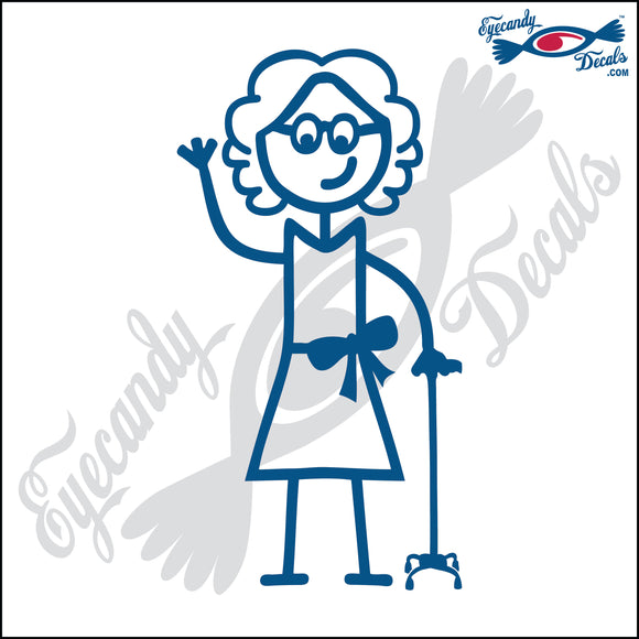 STICK FAMILY LADY GRANDMA WITH WALKING STICK   5