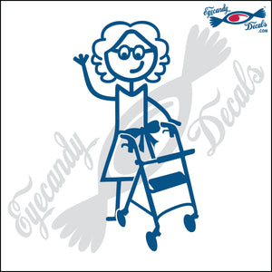 "STICK FAMILY LADY GRANDMA WITH WALKER   5"" DECAL"
