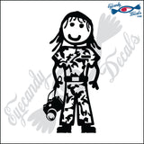 "STICK FAMILY LADY SOLDIER WITH CAMERA   5"" DECAL"