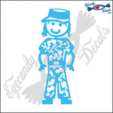 "STICK FAMILY LADY SOLDIER    5"" DECAL"