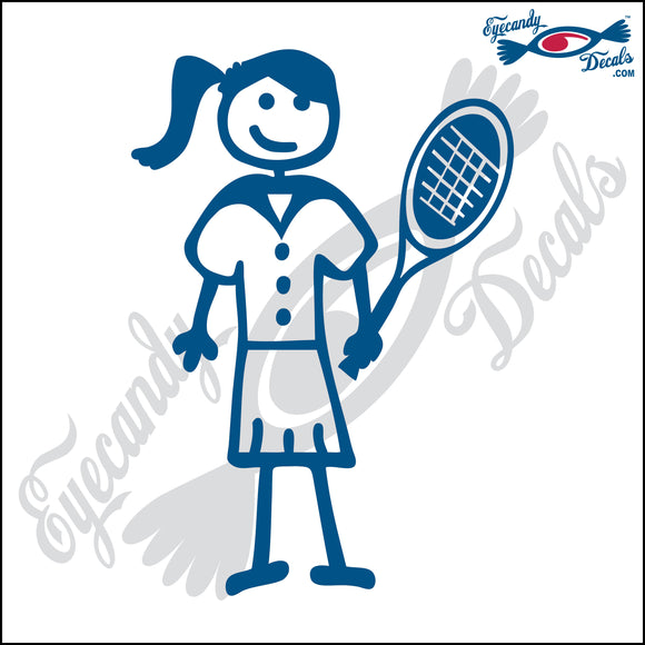 STICK FAMILY LADY WITH PONYTAIL PLAYING TENNIS   5