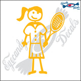 "STICK FAMILY LADY WITH PONYTAIL PLAYING TENNIS   5"" DECAL"